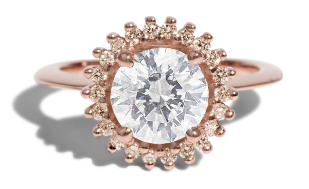 Stellium Diamond with Champagne Halo Ring