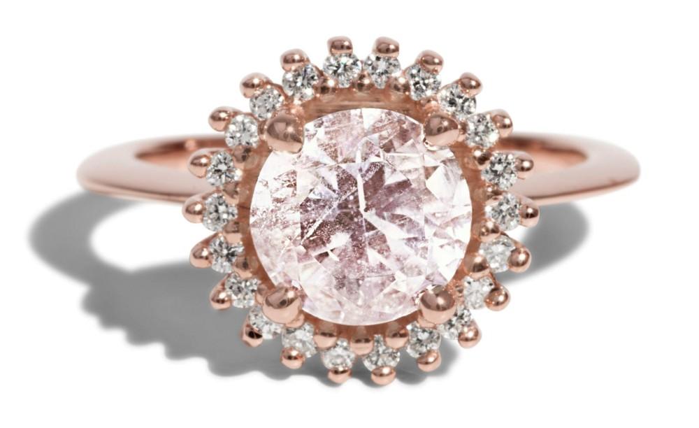 Stellium Morganite with Diamond Halo Ring