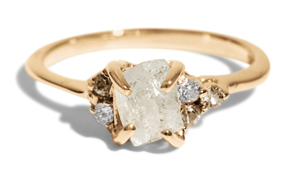 Avens Asymmetrical Raw Diamond with Champagne Ombré Ring