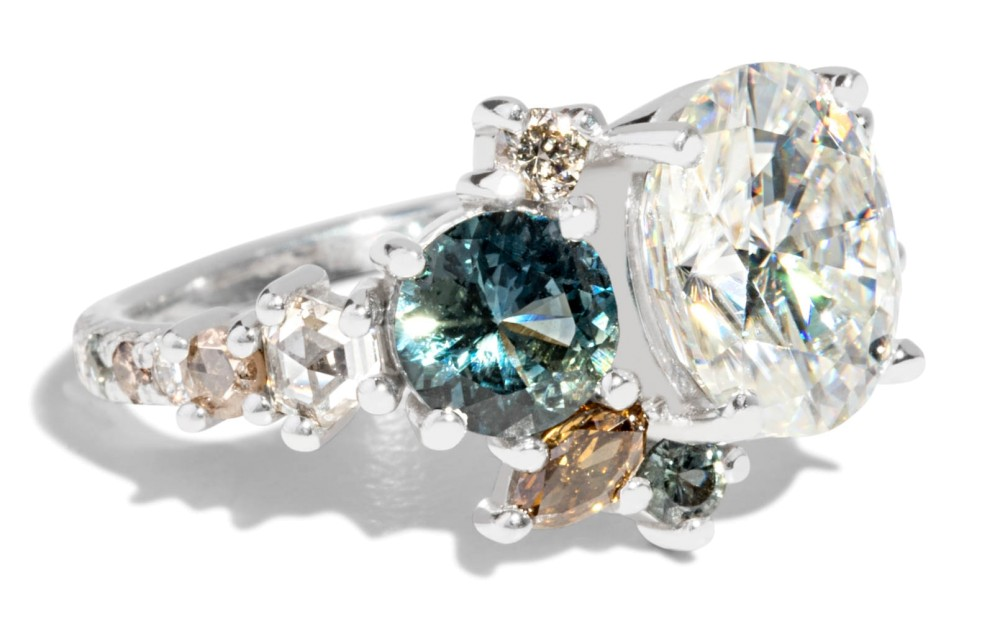 Custom Oval Moissanite with Blue-Green Sapphires Cluster Ring