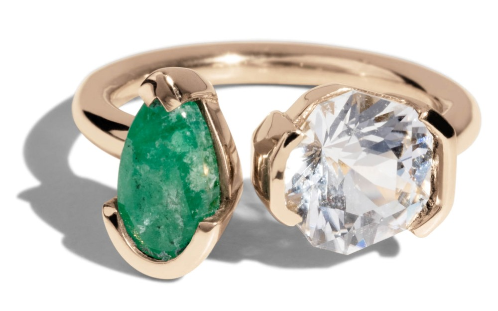 Open Lash Emerald and Phenakite Ring