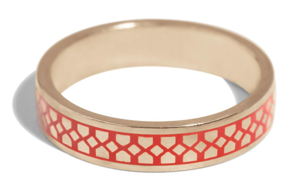 Shield Band with Tomato Red Enamel