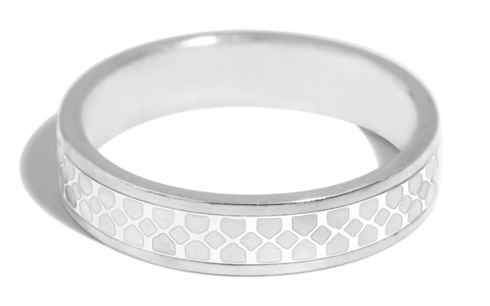 Shield Band with White Enamel