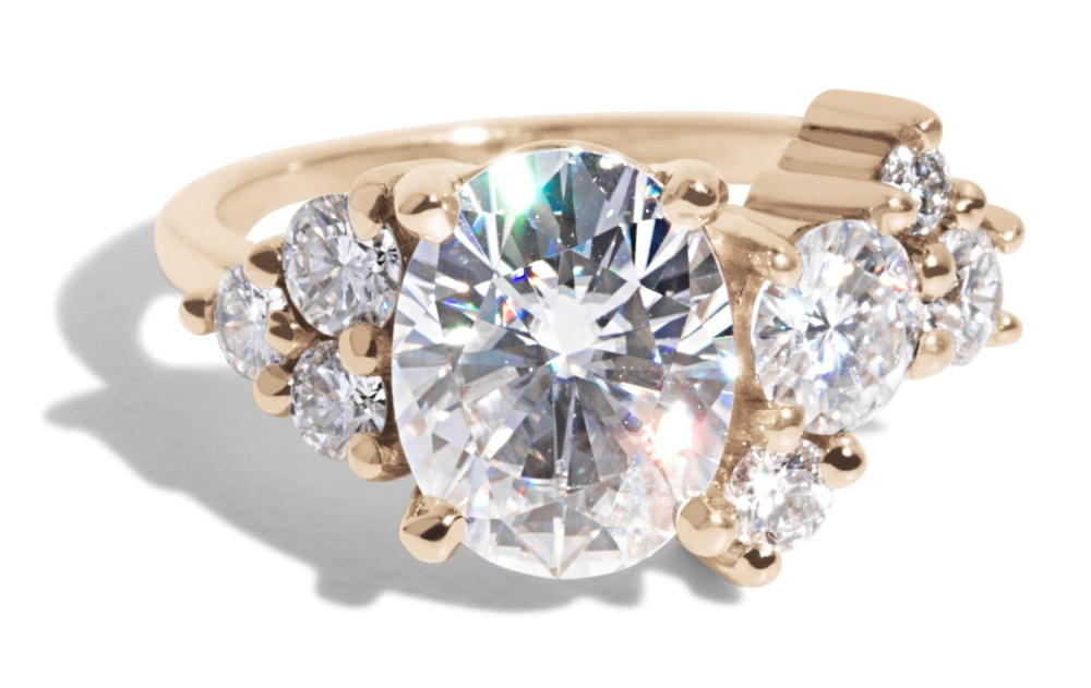 Custom 2ct Oval Moissanite Cluster Ring with Diamonds