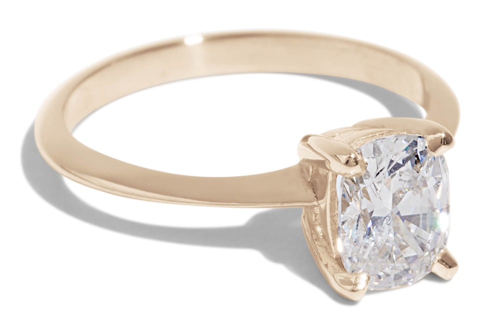 Custom Avens Airline Ring with Heirloom Cushion Cut Diamond