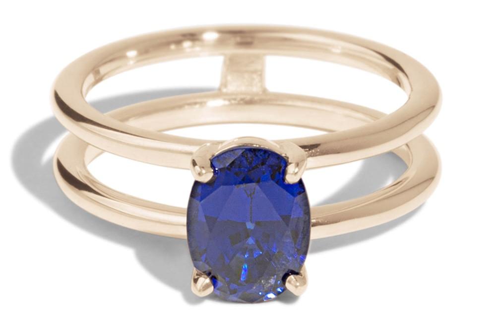 Custom Double Band Sapphire Ring