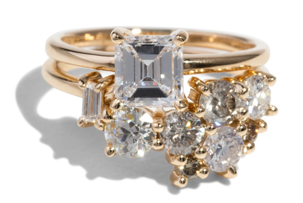 Custom Curved Heirloom Diamond Cluster Band