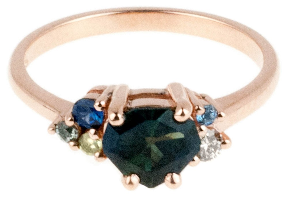 Custom Avens Asymmetrical with Shield Cut Blue-Green Sapphire Ring