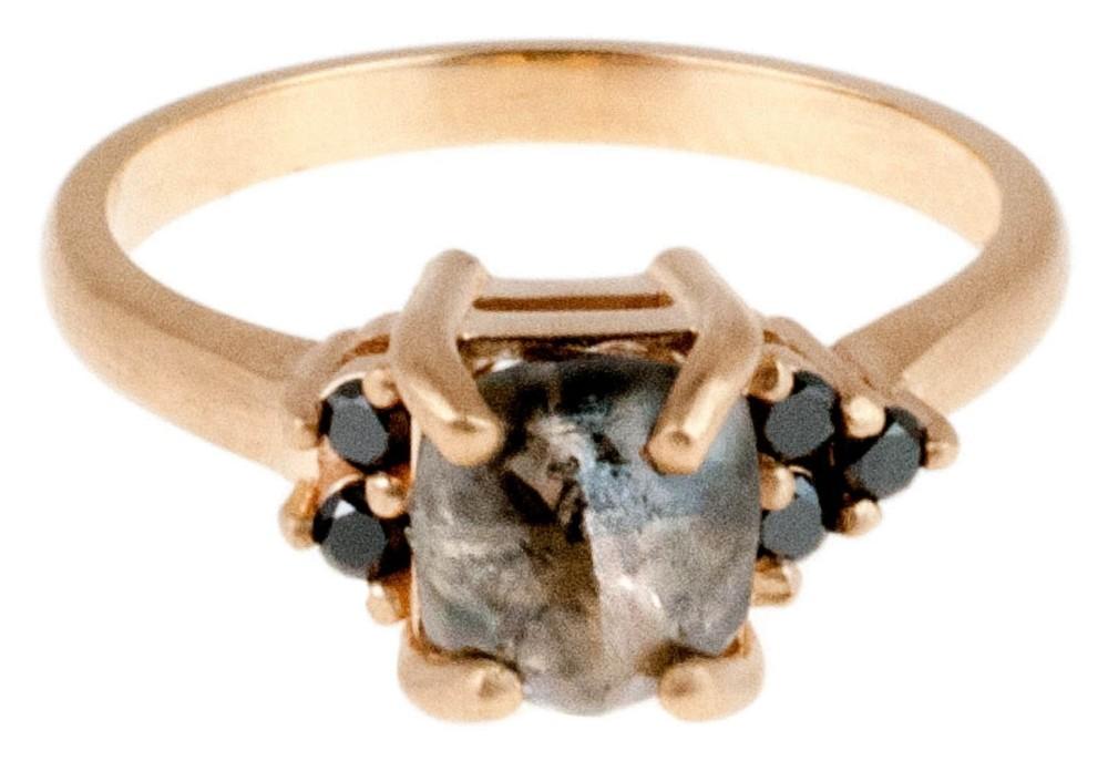 Custom Avens Asymmetrical Rough Diamond Ring with Black Diamonds