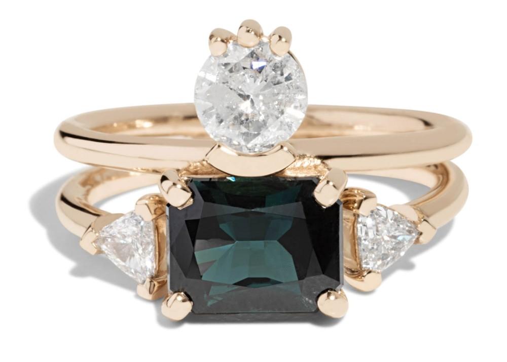 Custom Cluster Tourmaline 9x7mm Emerald Cut Ring