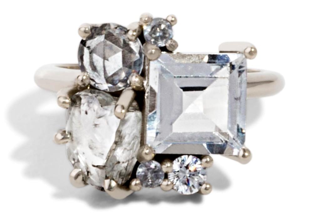 Custom Topaz and Heirloom Rough Diamond Cluster Ring