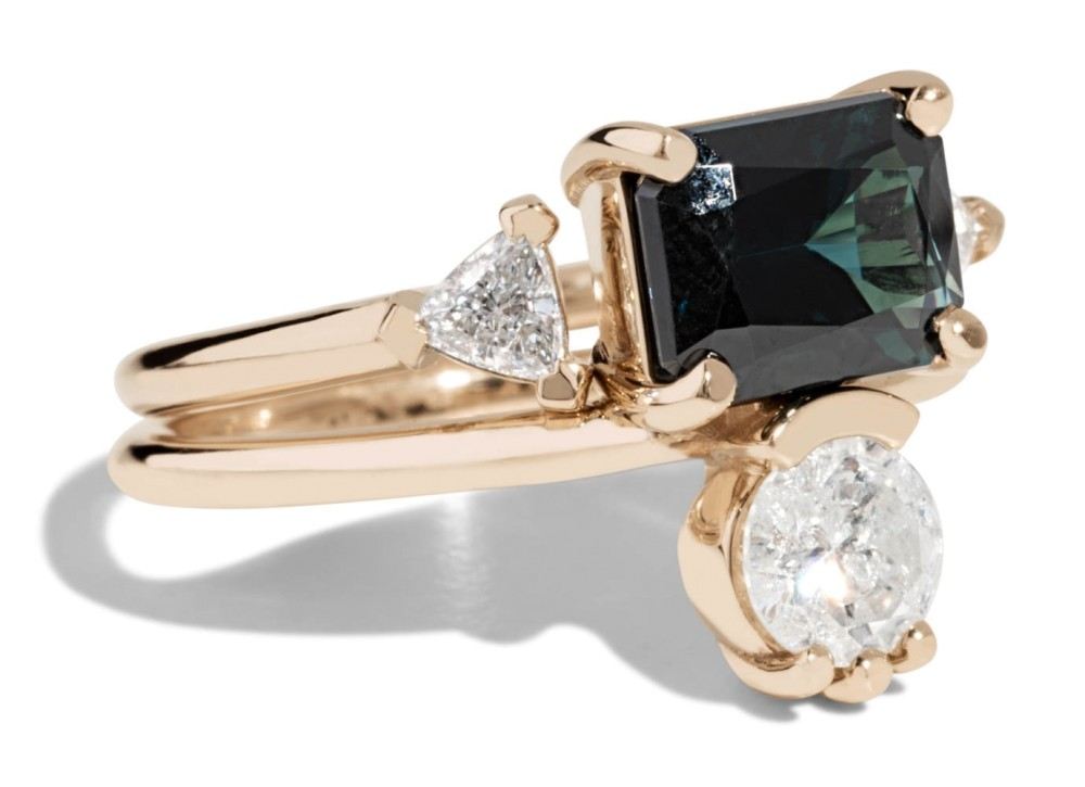 Custom Open Lash Trillion Diamond Ring