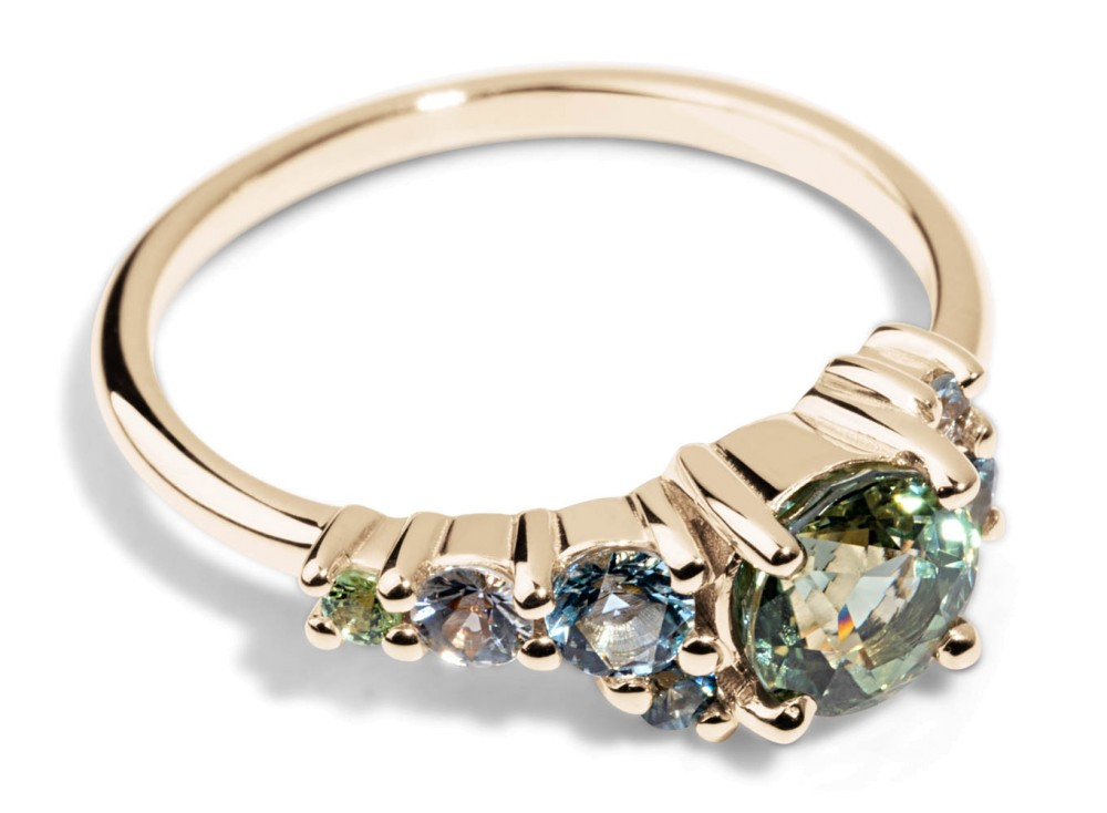 Custom 5.5mm Green Sapphire Cluster Ring