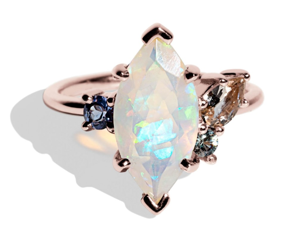 Custom Marquise Opal and Morganite Cluster Ring with Tanzanite and Sea Foam Sapphire