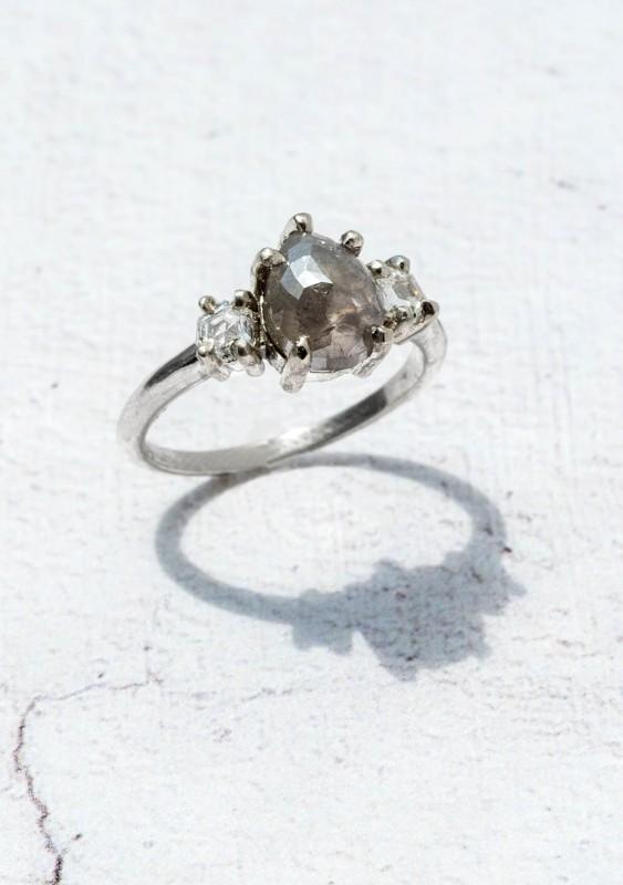 Custom Three Stone Pear Grey Diamond Engagement Ring