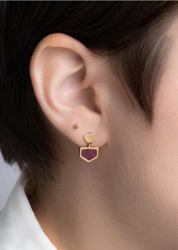Shield Ruby Slice Earrings