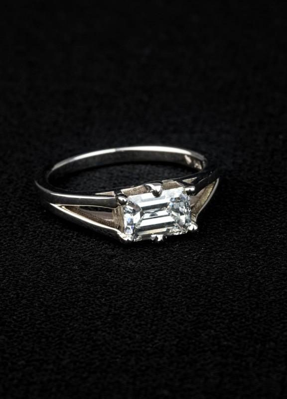 Custom Solitaire Emerald Cut Engagement Ring