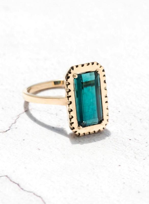 Custom Bezel Set Emerald Cut Tourmaline Solitaire Ring