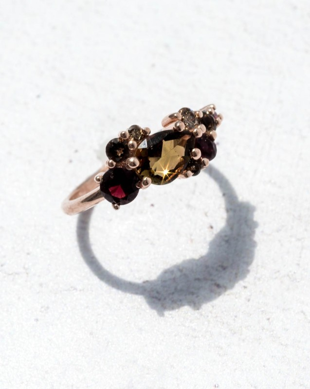 Custom 7x5mm Pear Cut Andalusite Cluster Ring