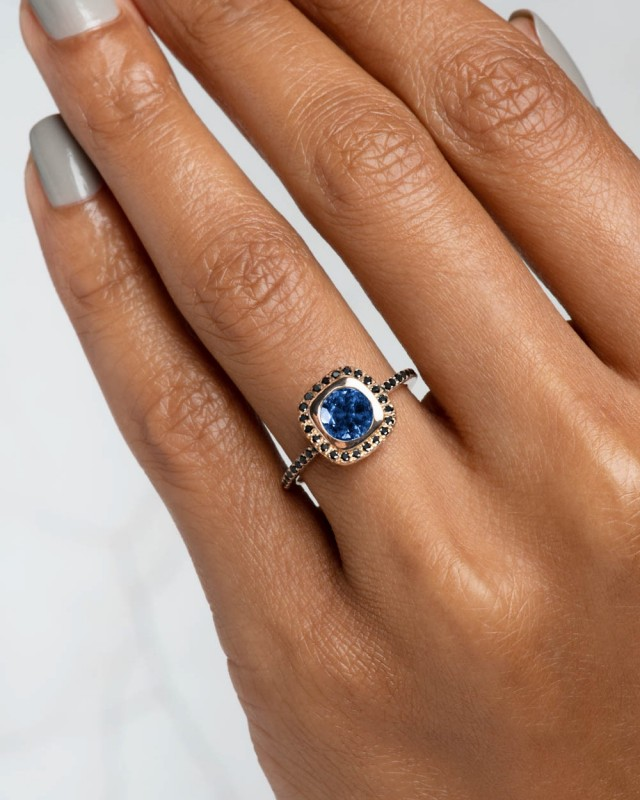 Quince Blue Sapphire with Black Diamond Halo Ring