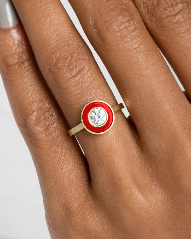 Senna Diamond Halo Ring with Tomato Red Enamel