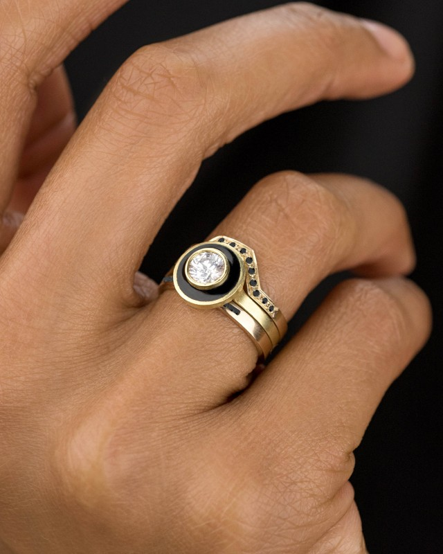 Senna Diamond Halo Ring with Black Enamel