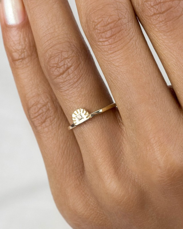Ray Fringe Champagne Diamond Ring