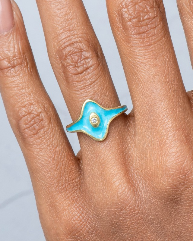 Arc Diamond Halo Ring with Robin's Egg Blue Enamel