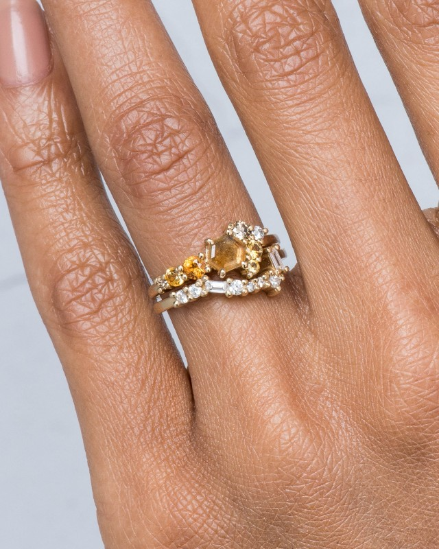 Radial Cluster Hex Yellow Sapphire Ring