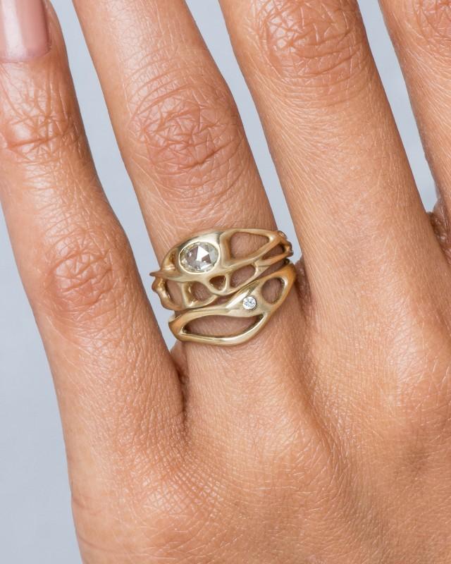 Bend Black Diamond Ring