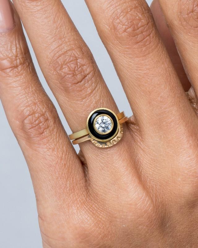 Senna Diamond Halo Ring with White Enamel