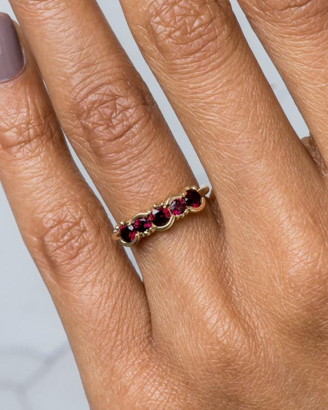 Lash Linear Garnet Ring