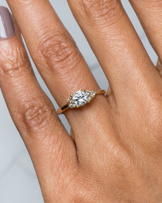 Avens Asymmetrical Diamond Cushion with Yellow Sapphire Ombre Ring