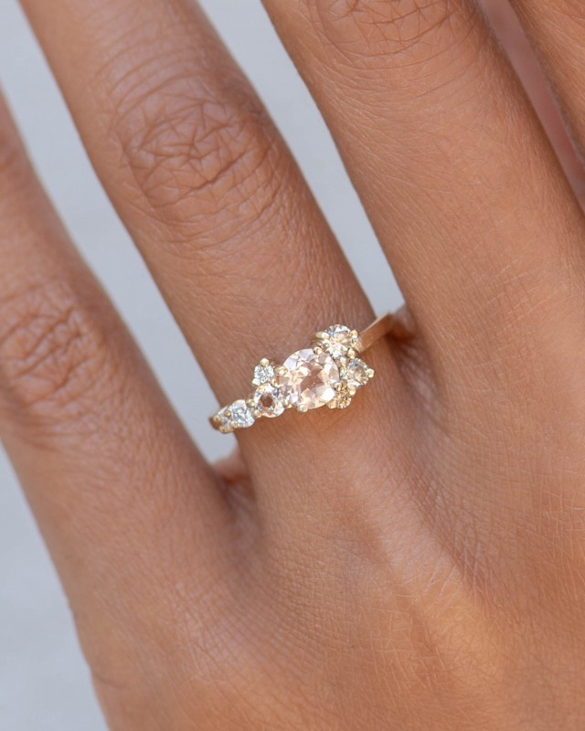 Burst Cluster Morganite with Diamond Ombré Ring