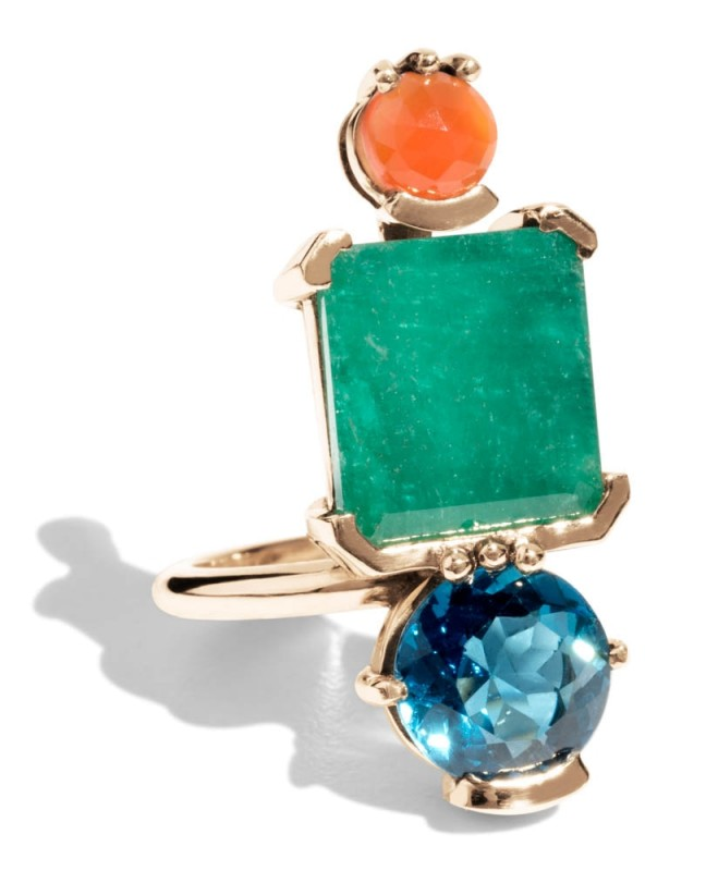 Lash Vertical Square Cut Emerald, Carnelian, and Blue Topaz Cluster Ring *Sold Out*