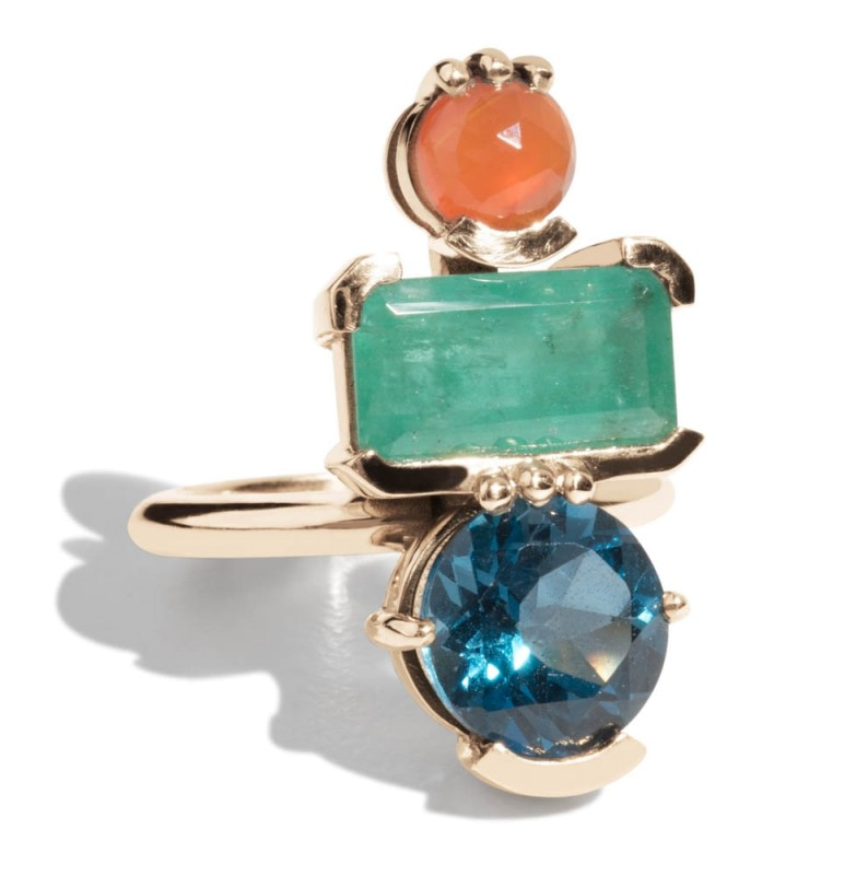 Lash Vertical Rectangular Cut Emerald, Carnelian, and Blue Topaz Cluster Ring *Sold Out*