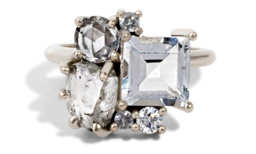 Custom Topaz and Heirloom Rough Diamond Cluster Ring