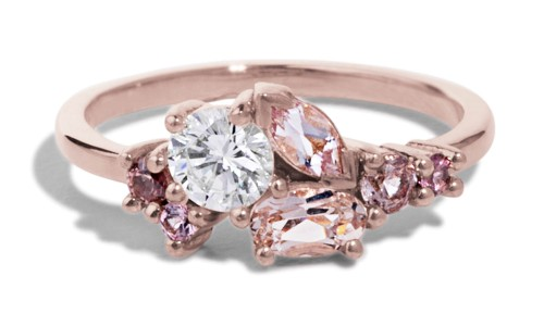 Custom Morganite, Spinel, and Heirloom Diamond Cluster Ring