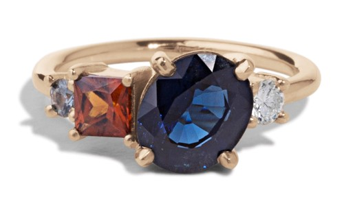 Custom Heirloom Blue Sapphire Cluster Ring