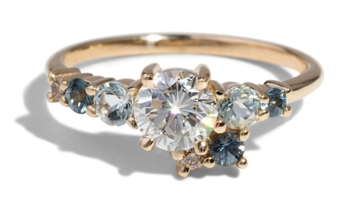 Custom .80ct Heirloom Diamond Sapphire Cluster Ring with Aquamarine and Champagne Diamond