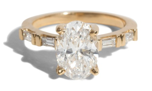 Custom Prong Set Oval and Baguette Diamond Ring