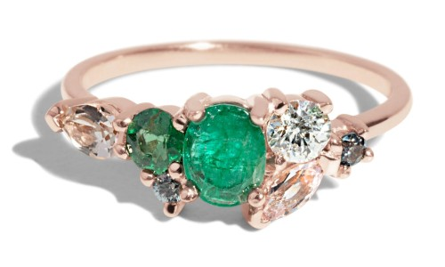 Custom Emerald Heirloom Cluster Ring