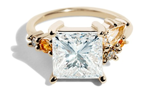 Custom Heirloom Princess Cut Diamond Cluster Ring