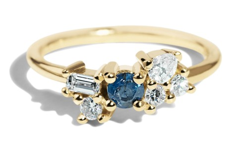 Custom Heirloom Sapphire and Diamond Cluster Ring Blue Sapphire