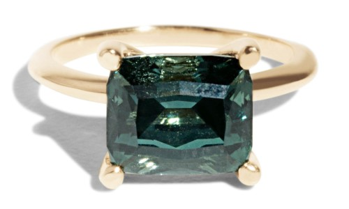 Custom Horizontally Set Tourmaline Solitaire Ring