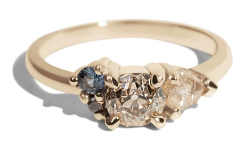 Custom .64ct Old Miner Cut Champagne Diamond Asymmetrical Avens Ring with Seafoam Sapphires and Cognac Diamond