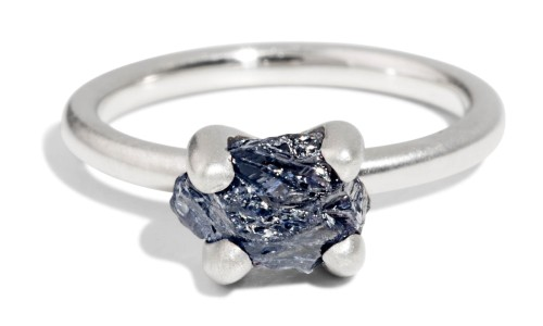 Custom Kalmia Rough Blue Sapphire Ring