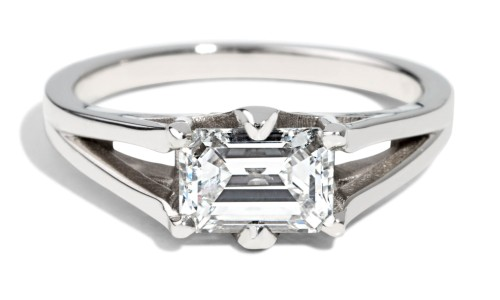 Custom Solitaire Emerald Cut Engagement Ring