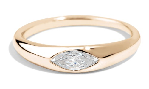 Crescent Diamond Marquise Ring in 14kt Yellow Gold
