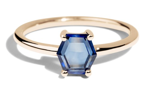 Kalmia Hex Blue Sapphire Ring in 14kt Yellow Gold